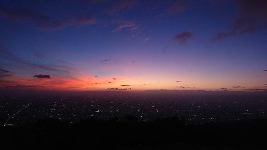 大阪で見た夕日
